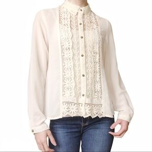 Sheer Lace Floral Button-Up Blouse